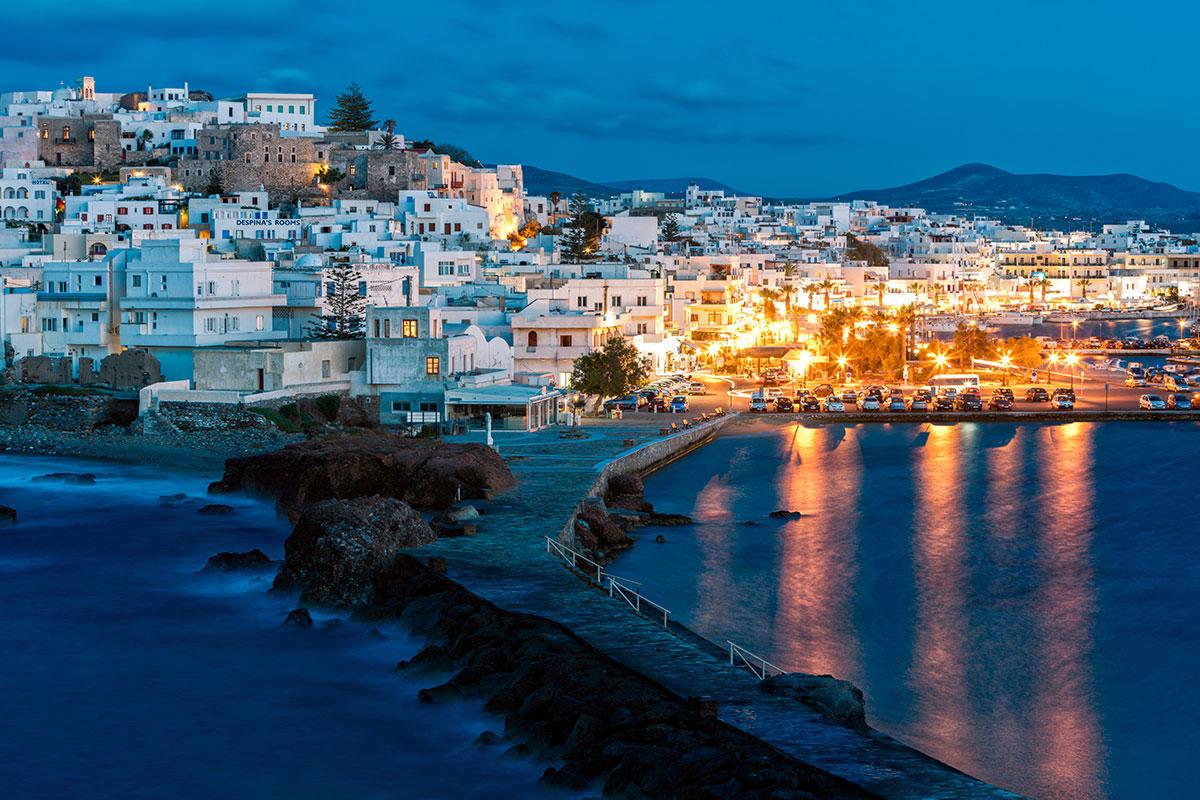 naxos greece places cyclades travel dusk illuminated january vacation virtuoso mykonos destinations travelers tours solo 1200 sea architecture island vacations