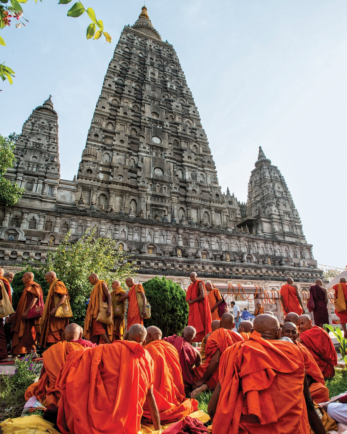 Buddhist monks amass beside Bodh Gaya's Mahabodhi Temple, a UNESCO World Heritage site.