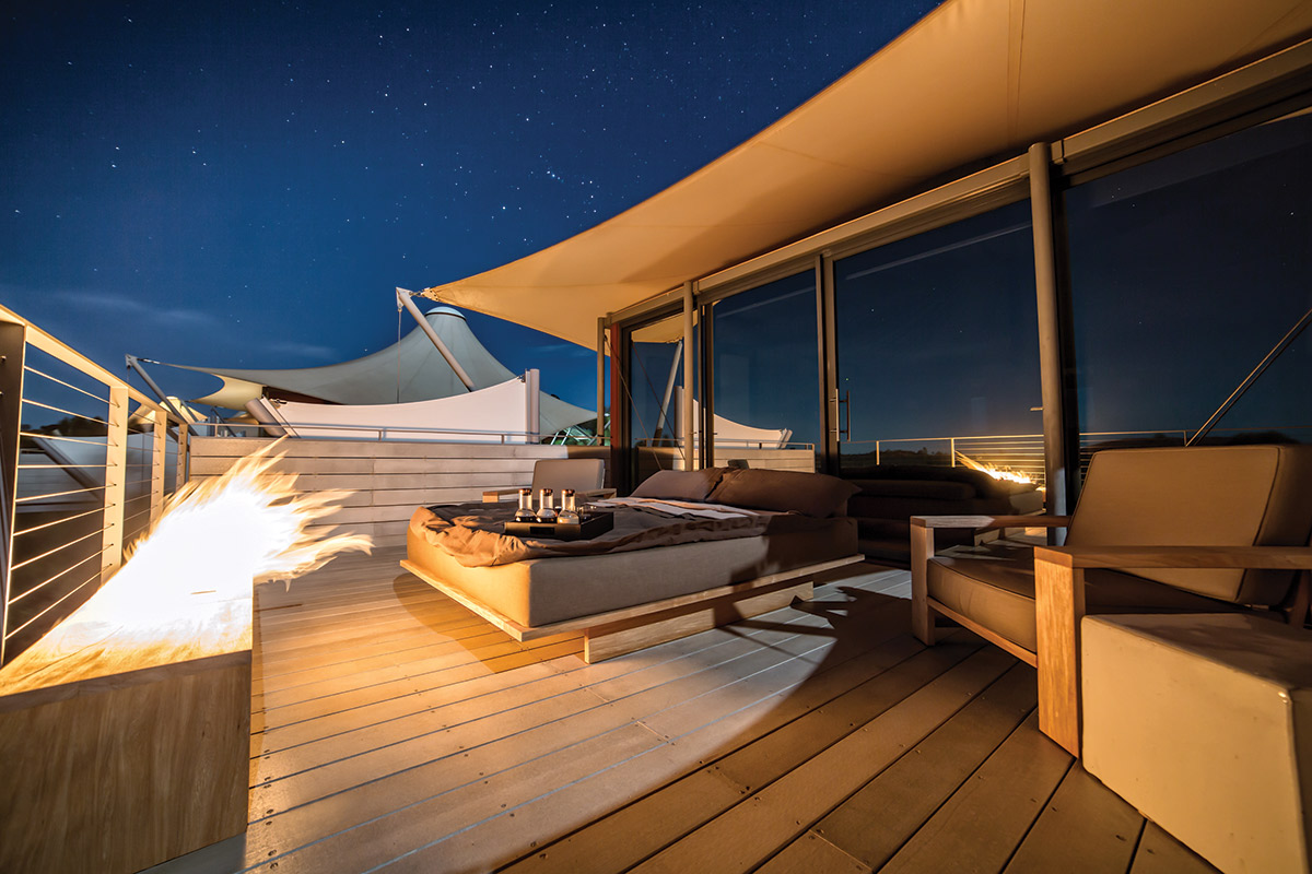 Private verandas for night-sky viewing at Longitude 131° in Australia.