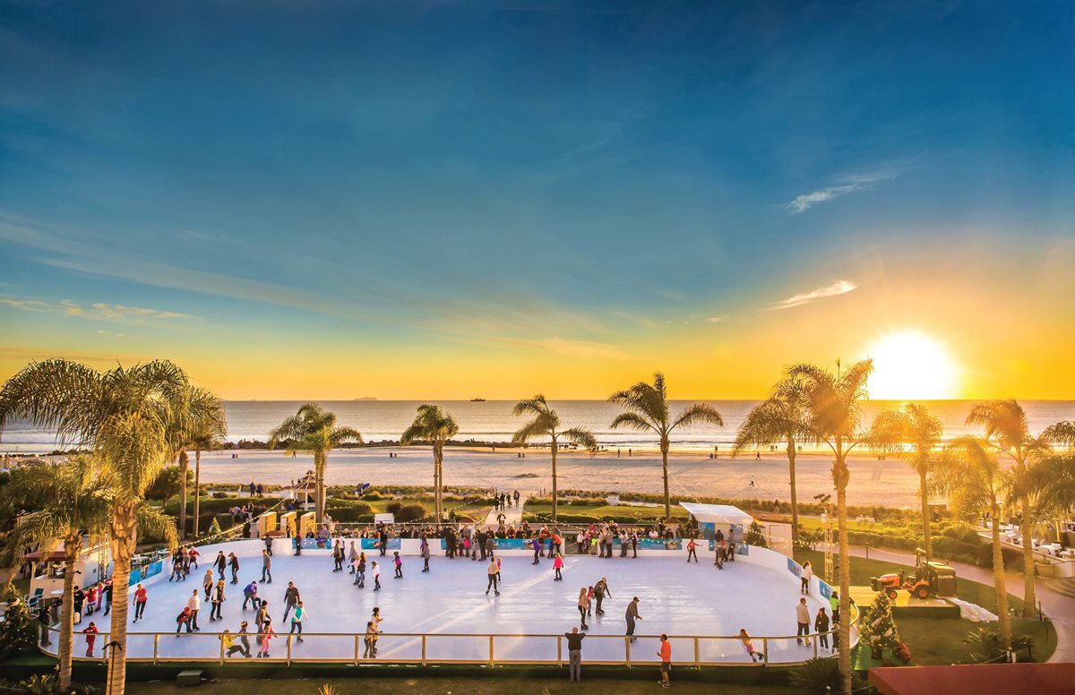 Holiday ice-skating at San Diego's Hotel del Coronado.
