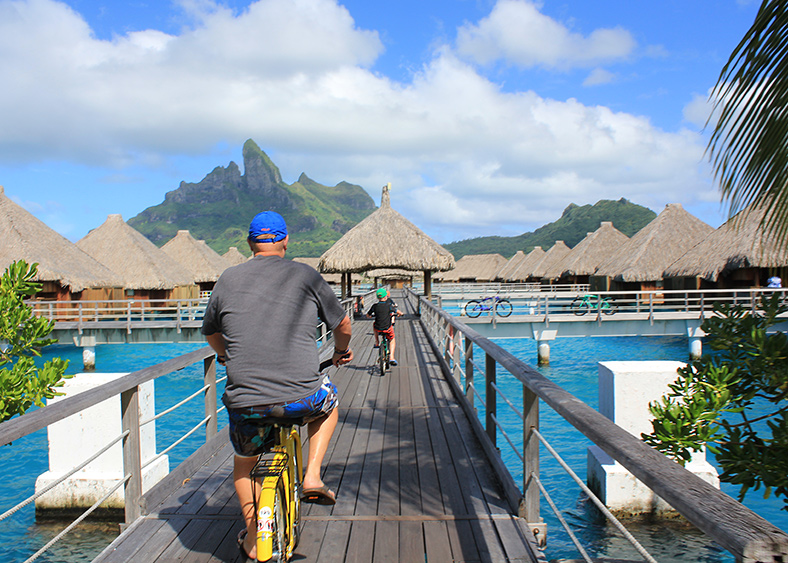 Riding bikes in Bora Bora.