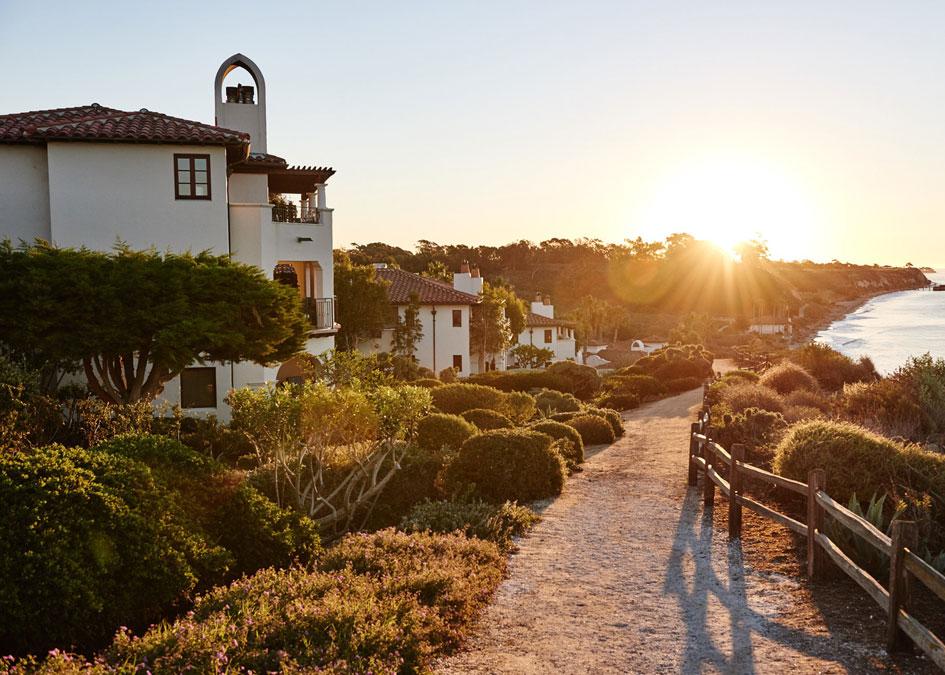 Take an evening stroll on the Ritz-Carlton Bacara Santa Barbara's beachfront walking path.<br />