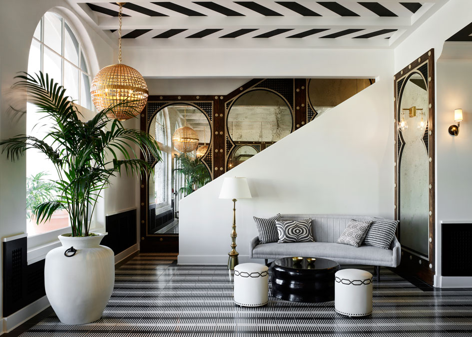 The Hotel Californian lobby sets the tone with modern Moorish flair and Spanish colonial-inspired architecture.