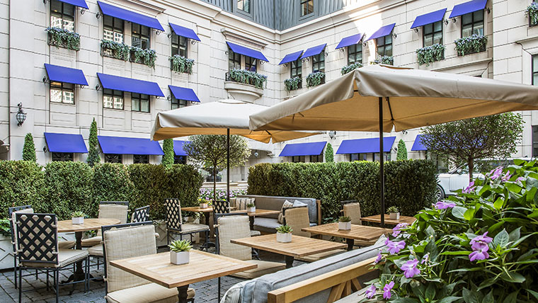 The Waldorf Astoria Chicago's Parisian-inspired courtyard.