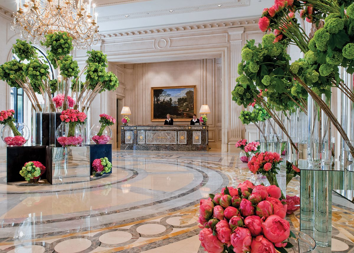 Hospitality in full bloom: Jeff Leatham's arrangements enliven the George V's public spaces.